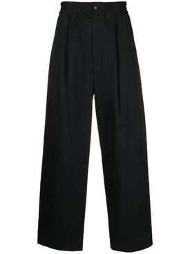 Loose drawstring cotton pants, jet black