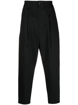 Loose drawstring cotton pants, black