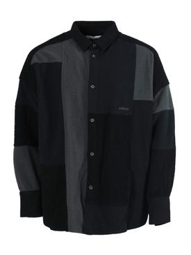 MULTI-TONAL PATCHWORK SHIRT BLACK