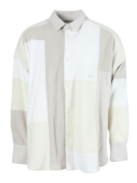 MULTI-TONAL PATCHWORK SHIRT WHITE