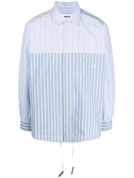 Striped drawstring shirt, blue