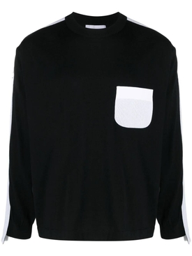 Taped knit sweater BLACK