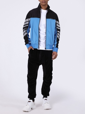 Black & blue color block track jacket