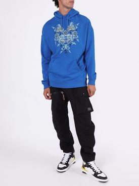 Blue floral studio logo hoodie