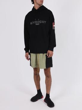 Black logo graphic hoodie jumper