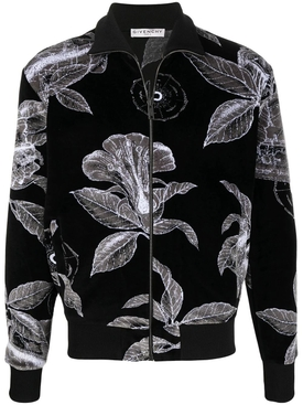 Black and white floral velvet track jacket