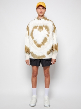 Tie-dye heart hoodie white and khaki
