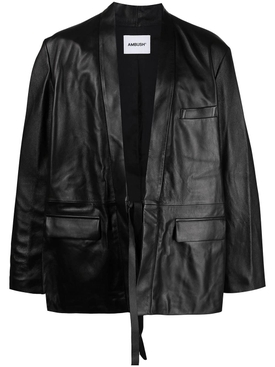 Kimono Leather Jacket, Black