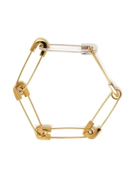 Gold-tone Safety pin link bracelet