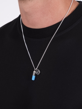 PILL CHARM NECKLACE SILVER/BLUE