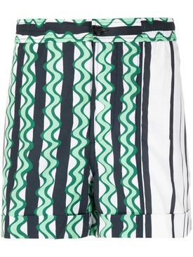 Green Multicolored Striped Shorts