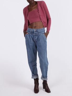 Burgundy cashmere tube crop top