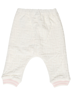 Kid's Velour Jogger Pant White and Pink