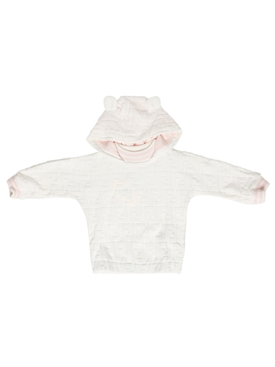 Kid's Velour Hoodie White and Pink