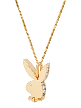 X Playboy Yellow Gold plated Bunny Pendant necklace
