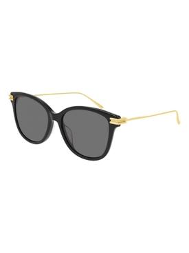 Cat Eye Gold-Tone Sunglasses BLACK