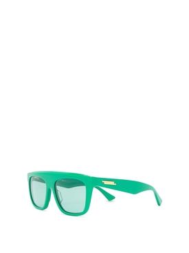 Oversize flat top sunglasses green
