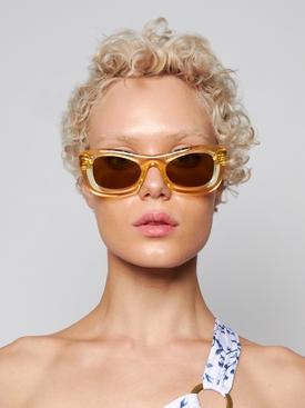 Yellow Transparent Rectangular Sunglasses