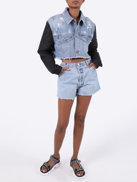 quilted sleeve cropped denim jacket