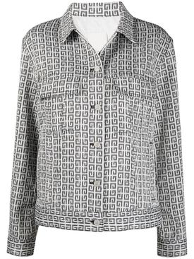 jacquard logo motif denim jacket