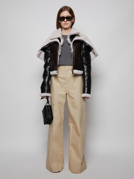 MIX SHEARLING CROPPED JACKET BLACK AND BEIGE
