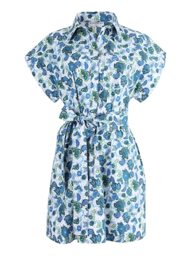 Blue Floral Button-Down Dress