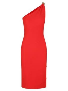 Poppy red asymmetric dress