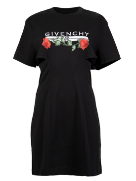 T-SHIRT DRESS WITH SIDE OPENINGS BLACK