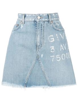 Destroyed Mini Denim Skirt