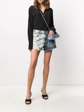 Two-tone high waist denim shorts