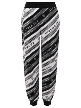 Black and white logo print jogger
