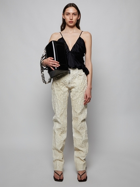 CRACKLED PAINTED SLIM-FIT PANTS, BONE WHITE