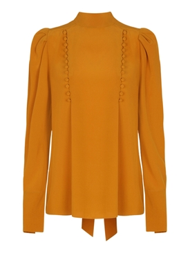 Silk Orange Pussy Bow Blouse
