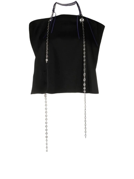 Open Back Top With Metallic Details, Black