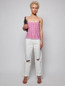 4G Guipure Lace Top Pink