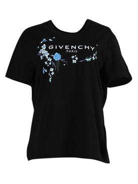Givenchy - Black And Blue Floral Graphic T-shirt - Women