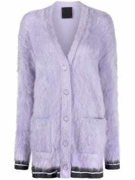 Long Cardigan with Logo In The Back Lilac
