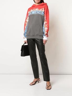 Floral color-blocked logo hoodie