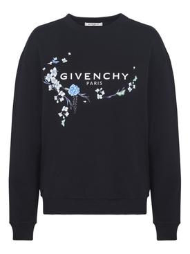 Black Multicolored Floral Logo Sweatshirt