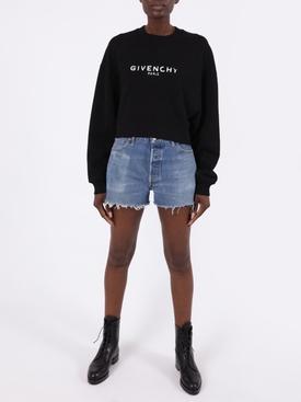 Cropped contrasting logo sweatshirt BLACK