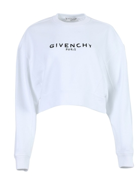 Cropped contrasting logo sweatshirt WHITE
