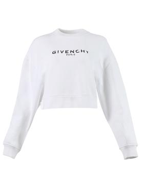 Oversized cropped sweatshirt, white