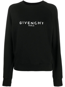 Distressed Logo Crew-neck Sweatshirt BLACK