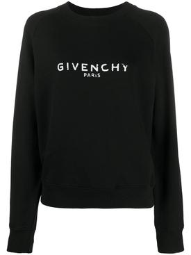 Distressed Logo Crew-neck Sweatshirt BLACK