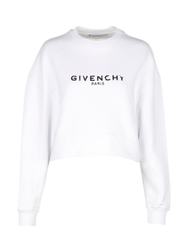 Distressed Logo Crew-neck Sweatshirt WHITE