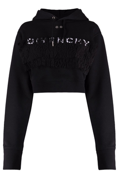 Cropped branded hooded sweater black
