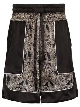 Silk Paisley Print Shorts Black and Beige
