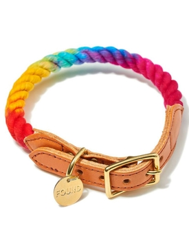 MULTICOLORED UP-CYCLED CAT AND DOG COLLAR