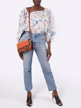 Off shoulder white and blue floral blouse