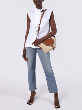 White sleeveless cotton shirt
